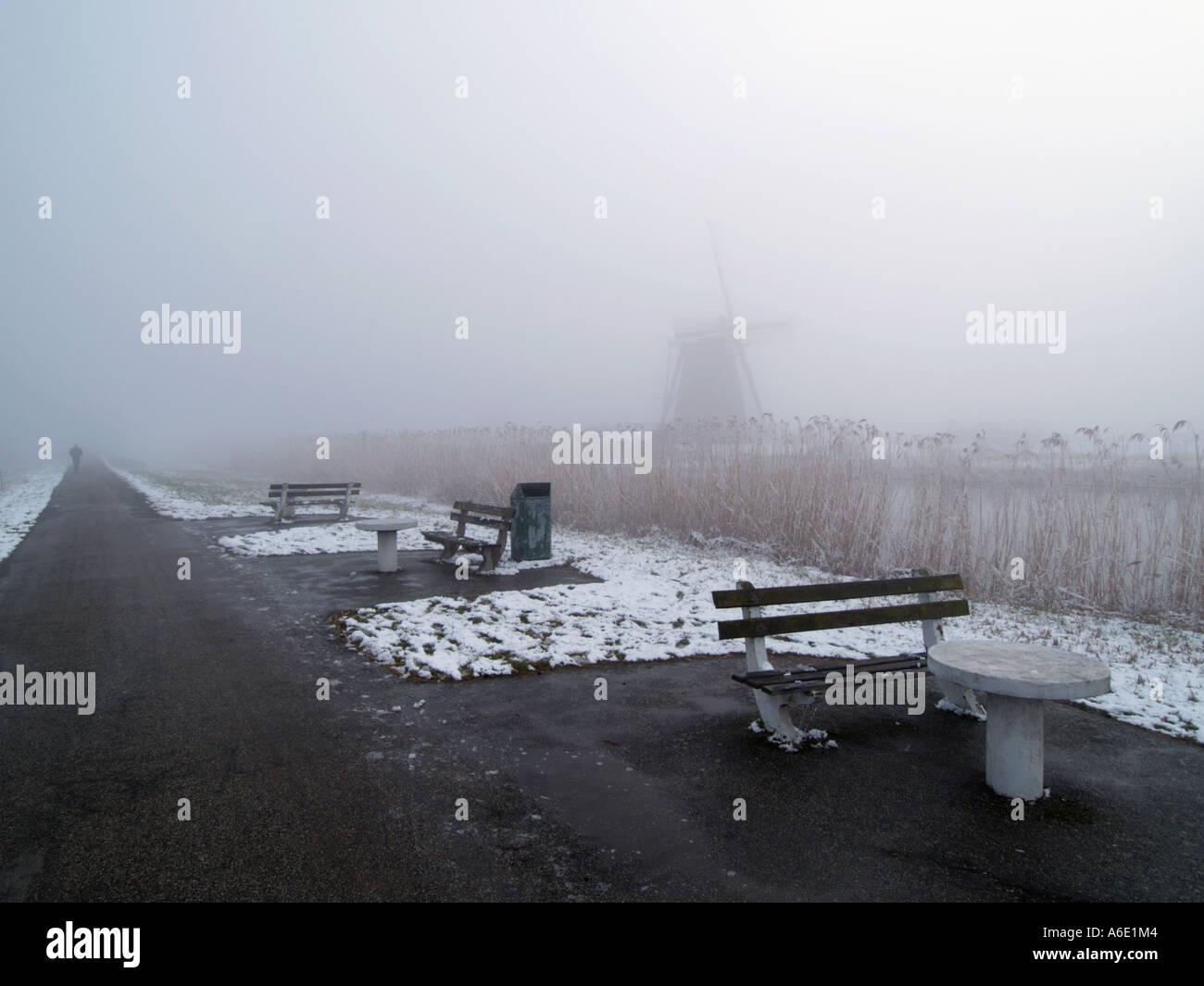 The worldfamous Kinderdijk windmills site is deserted in the winter Kinderdijk the Netherlands - Stock Image