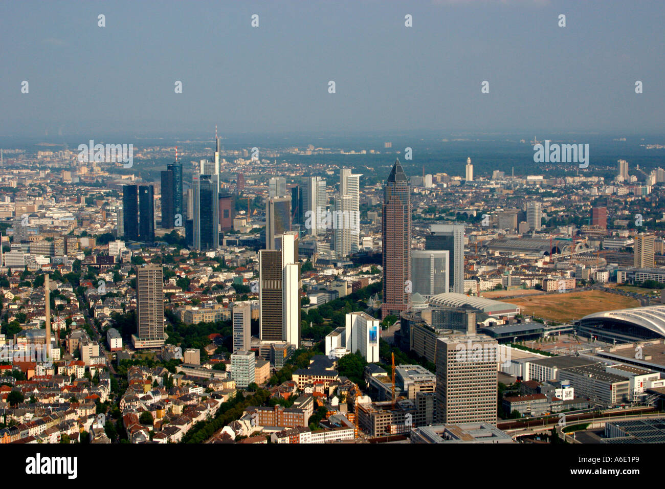 DEU, Germany Skyiline Frankfurt airial view from the west, in the foreground the Messe tower - Stock Image
