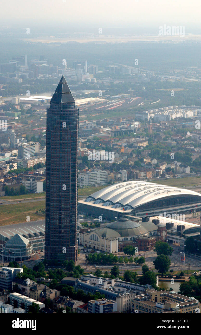 DEU, Germany Skyiline Frankfurt airial view from the west, in the foreground the Messe tower, hall 3 - Stock Image