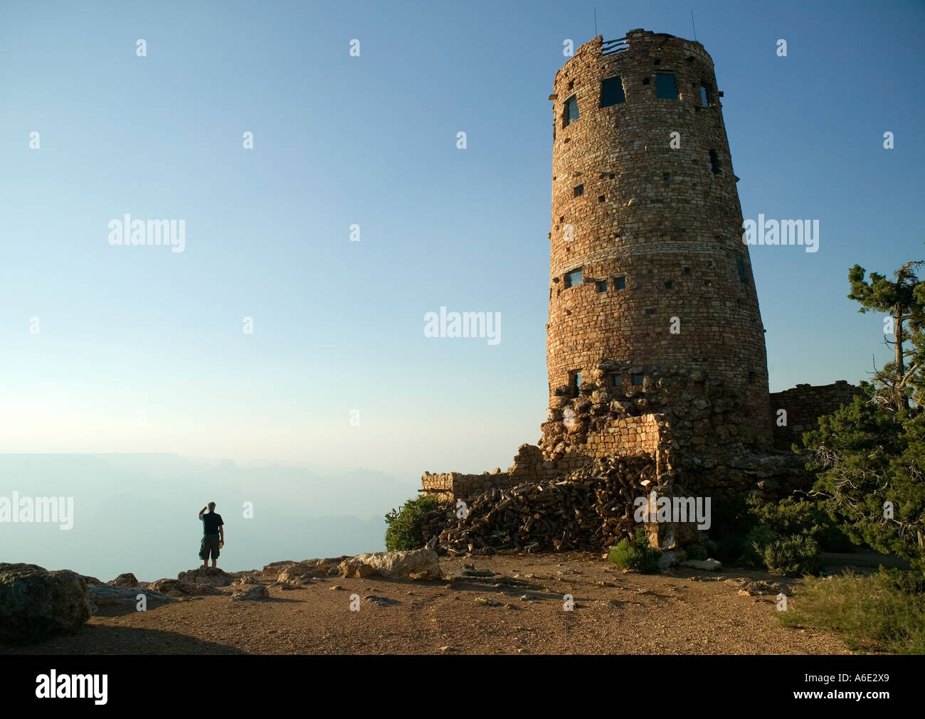 Grand Canyon Desert View Watch Tower South Rim Grand Canyon Arizona Stock Photo