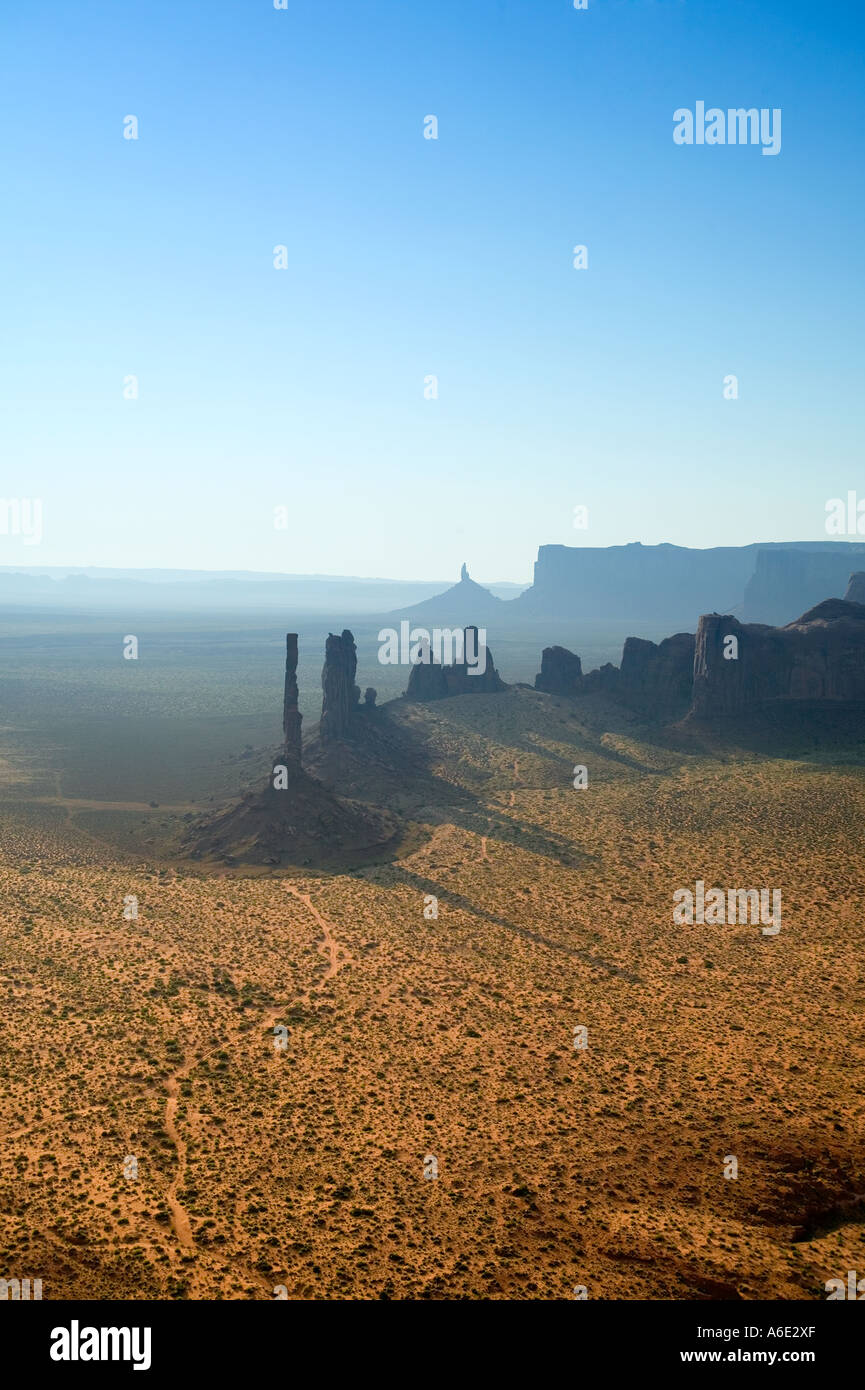 Monument Valley Totem Pole Rock Formation from high angle Navajo Nation Utah Stock Photo