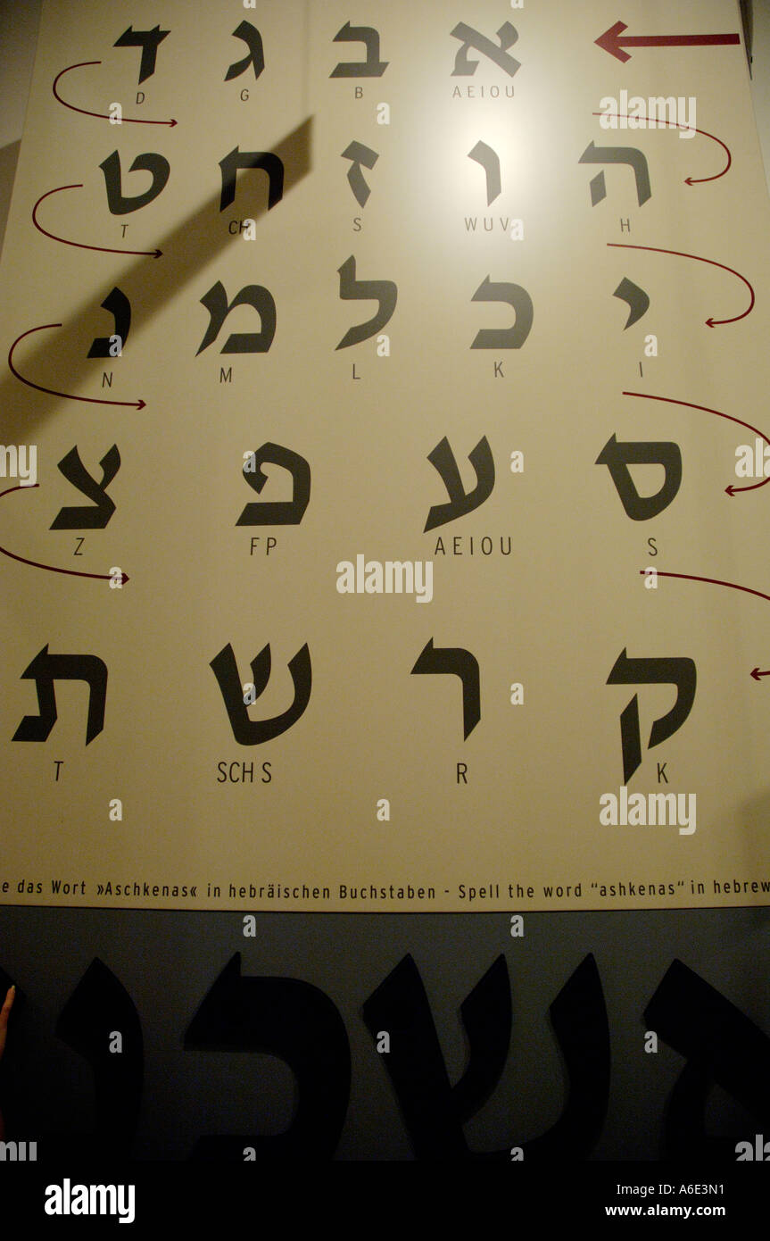 Board with Hebrew alphabet in jewish museum Berlin Germany - Stock Image