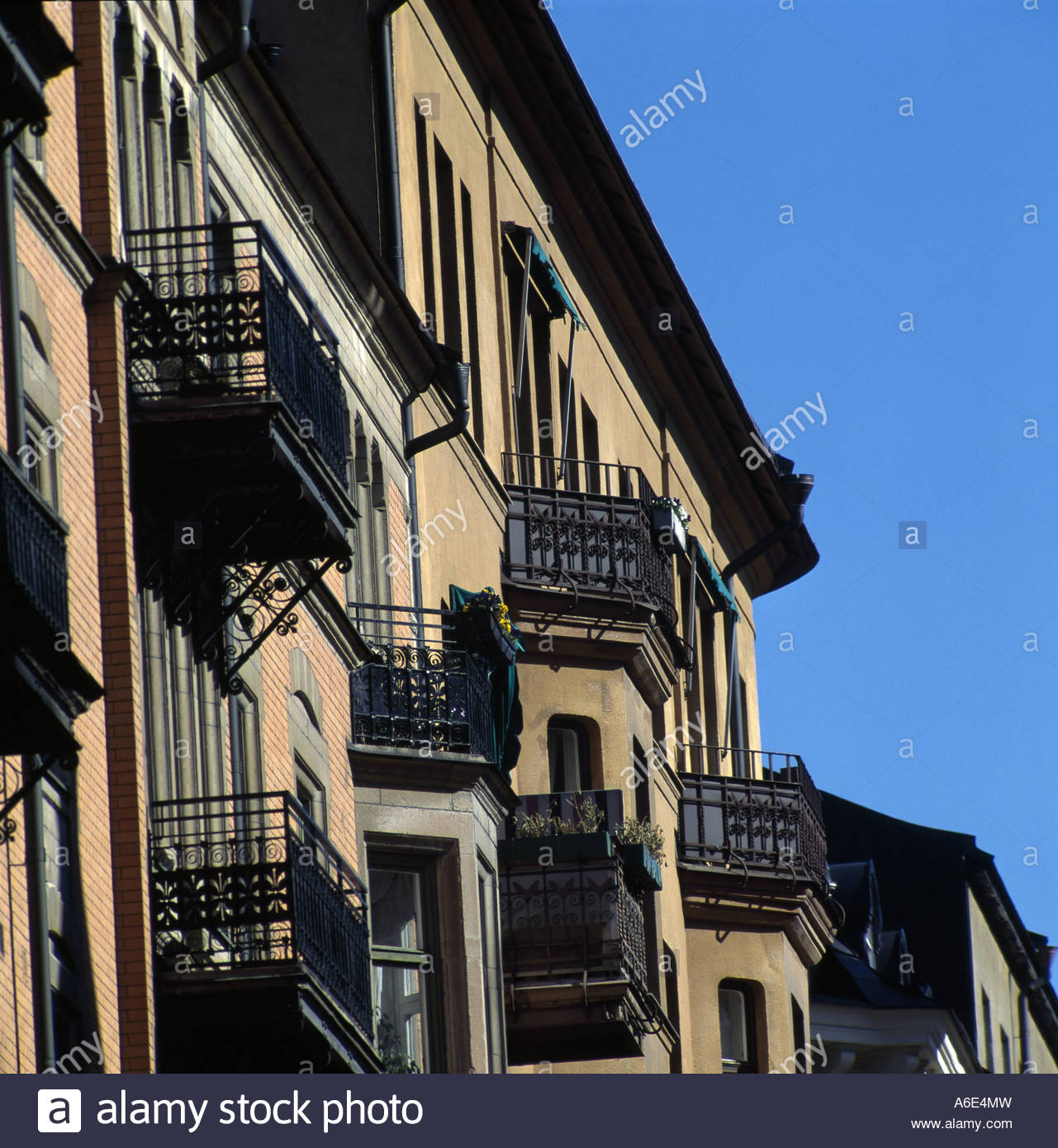 Architecture buildings with balconies - Stock Image