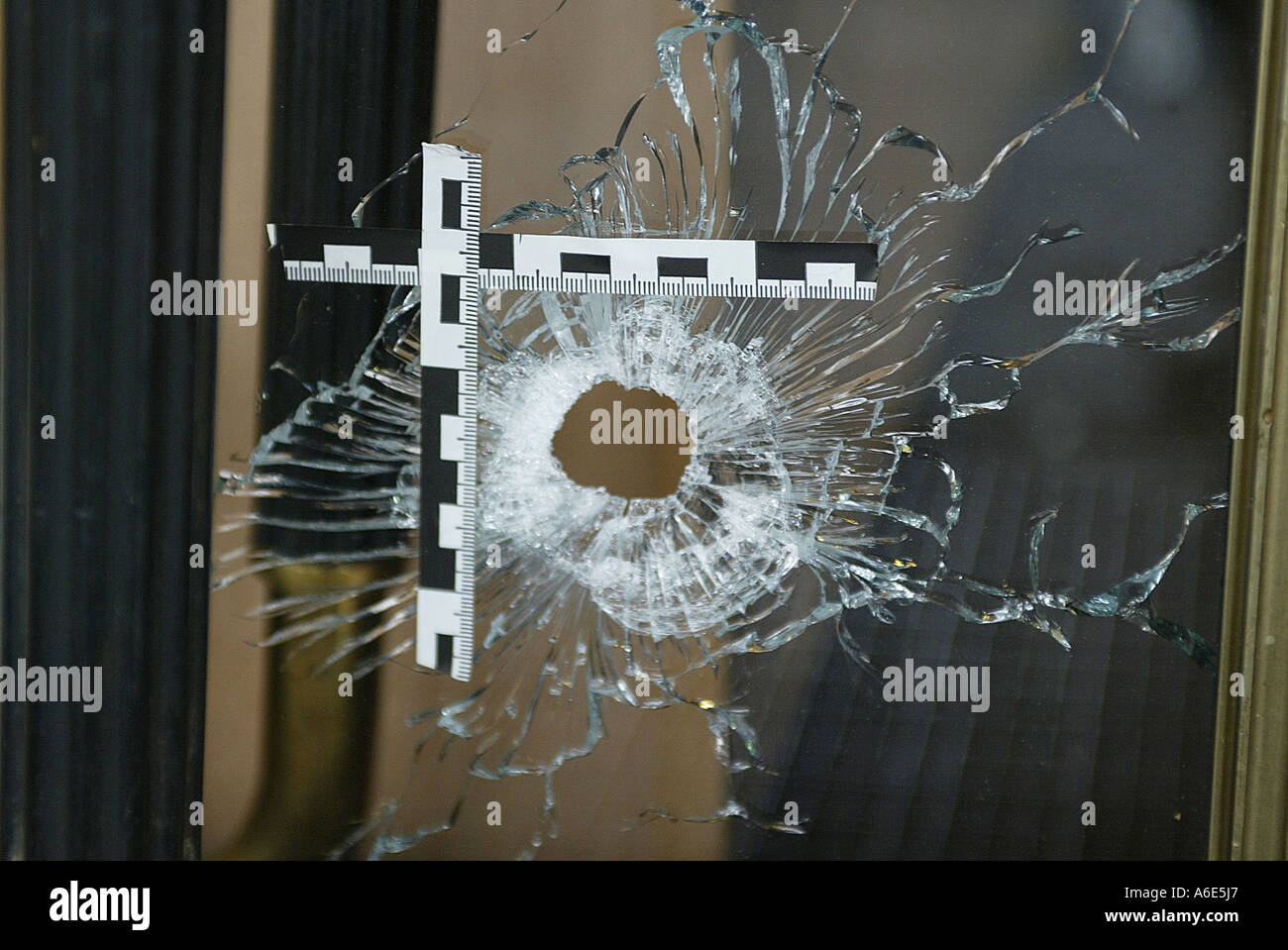 Mannheim, DEU, 17.04.2005, bullet hole in windowpane after murder, securing of evidence - Stock Image