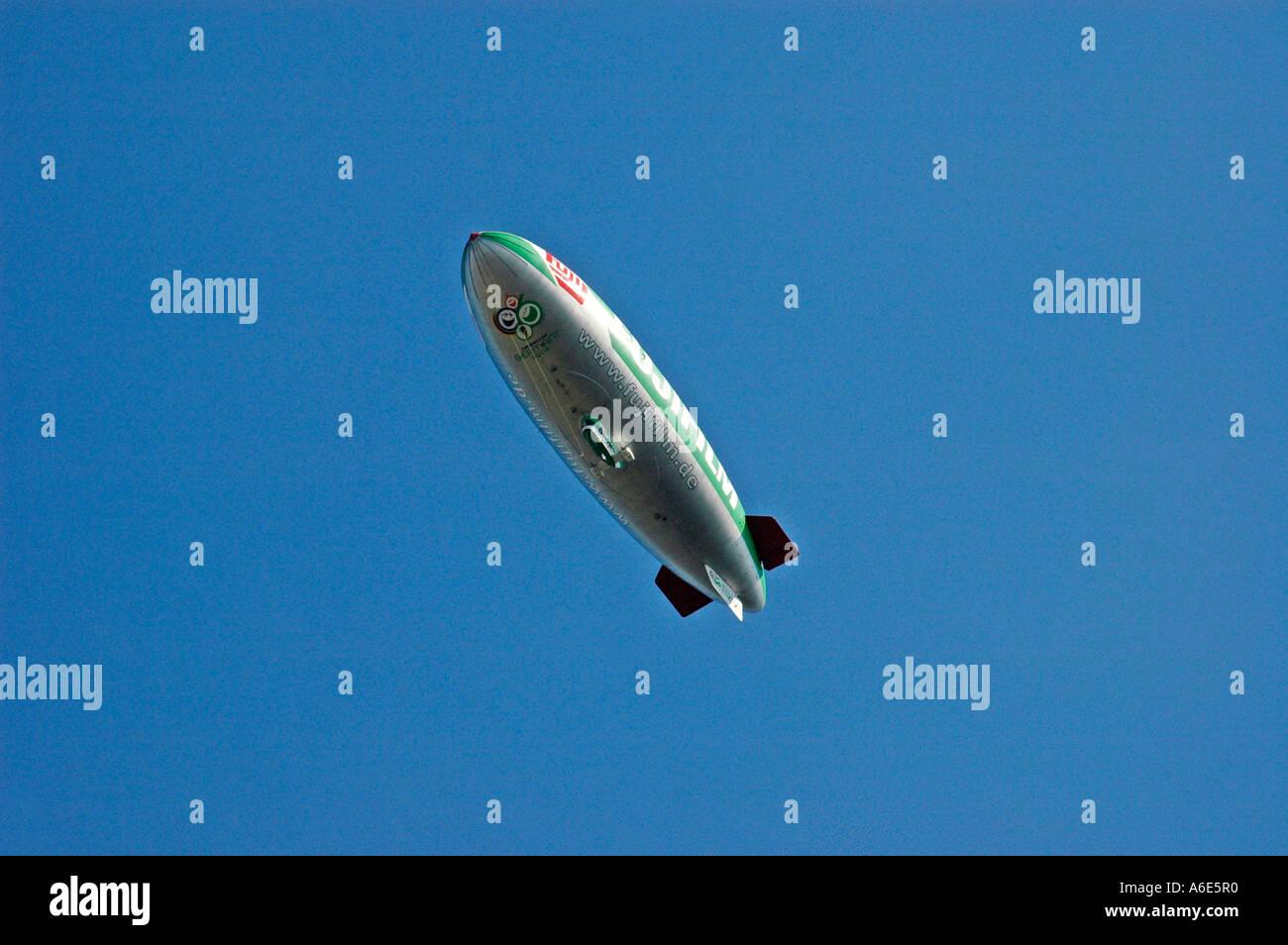 Zeppelin, dirigible, blimp, airship, fuji, fujifilm, flight object, advertisement, advertising, NRW, Nordrhein Westphalia - Stock Image