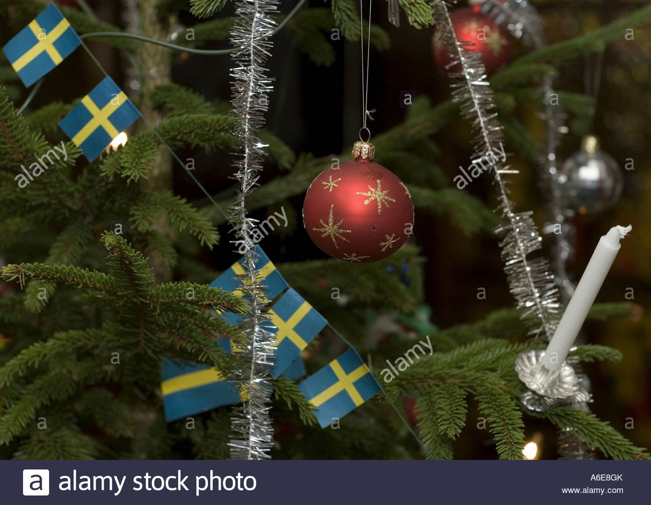 A Christmas Tree Decorated With Swedish Flags Stock Photo
