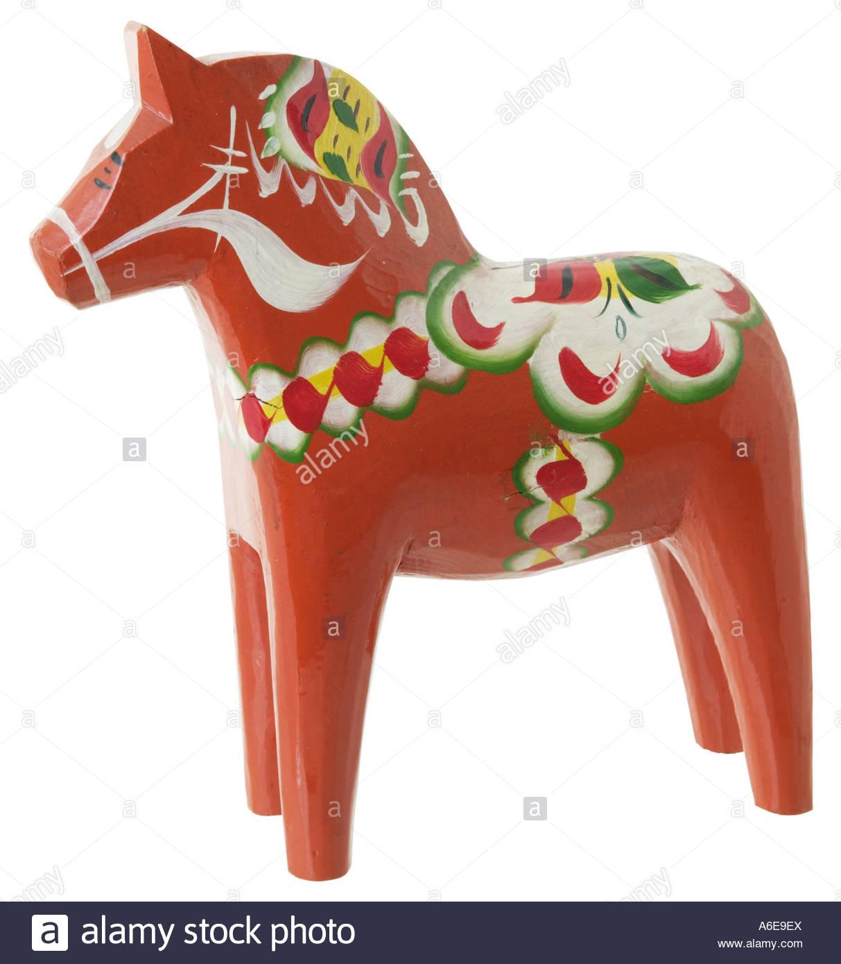 Traditional Swedish wooden horse dalahast - Stock Image