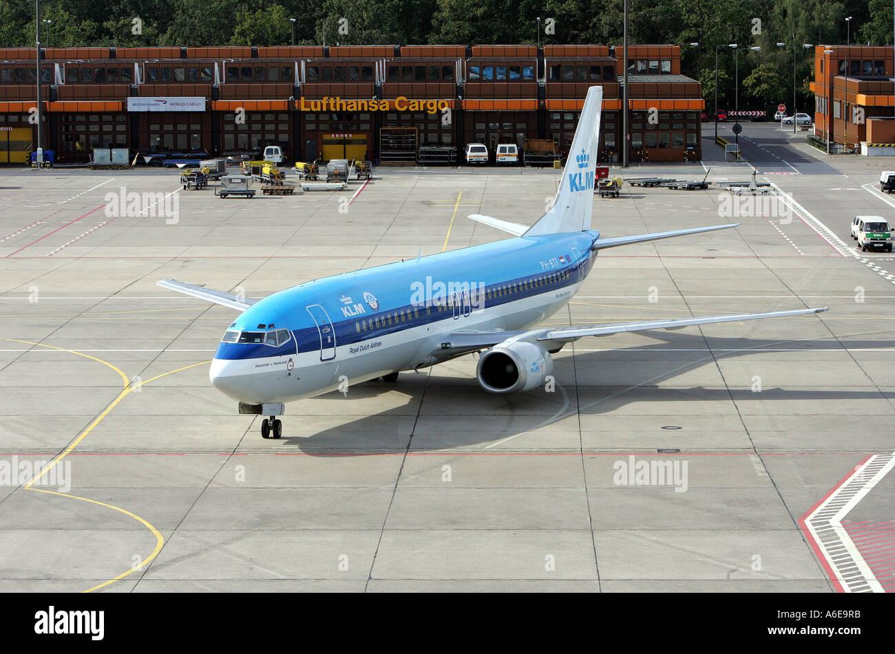 KLM airplane at Tegel airport, Berlin - Stock Image
