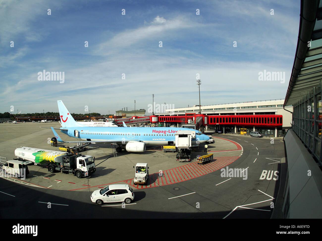 Hapag Lloyd airplane at Tegel airport, Berlin - Stock Image