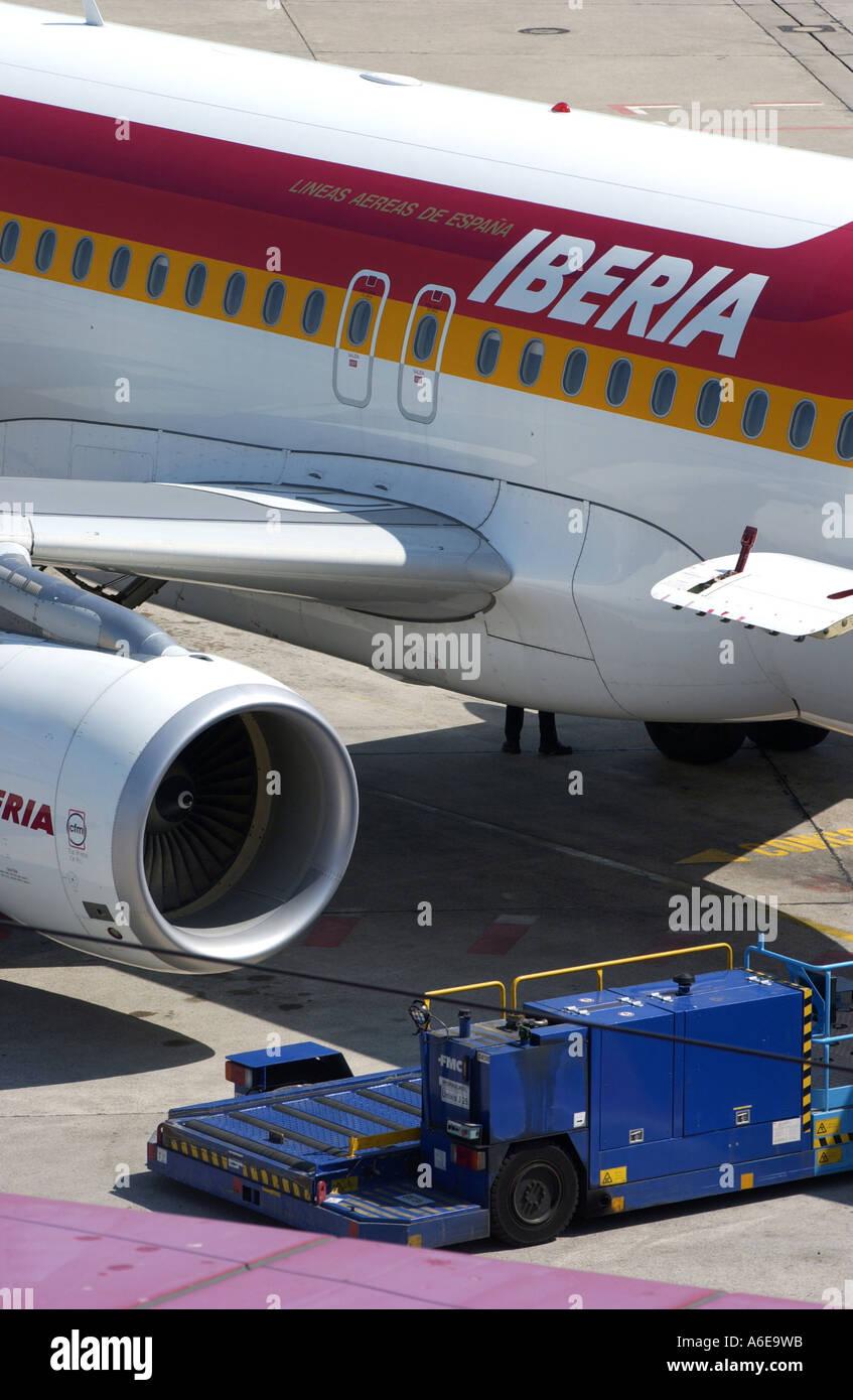 Iberia airplane at Tegel airport, Berlin - Stock Image