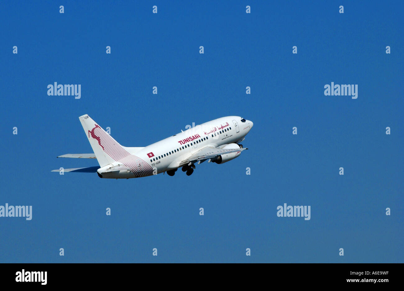 TunisAir airplane in the blue sky - Stock Image