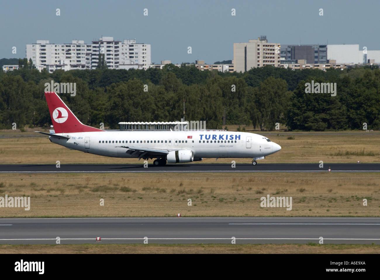Turkish Airways airplane at Tegel airport, Berlin - Stock Image