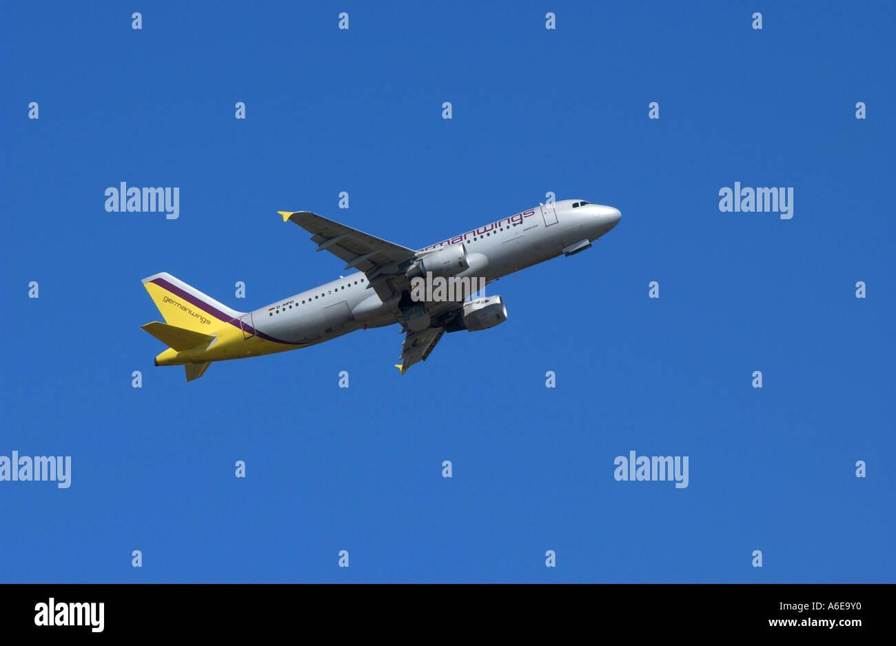 Germanwings airplane in the blue sky - Stock Image