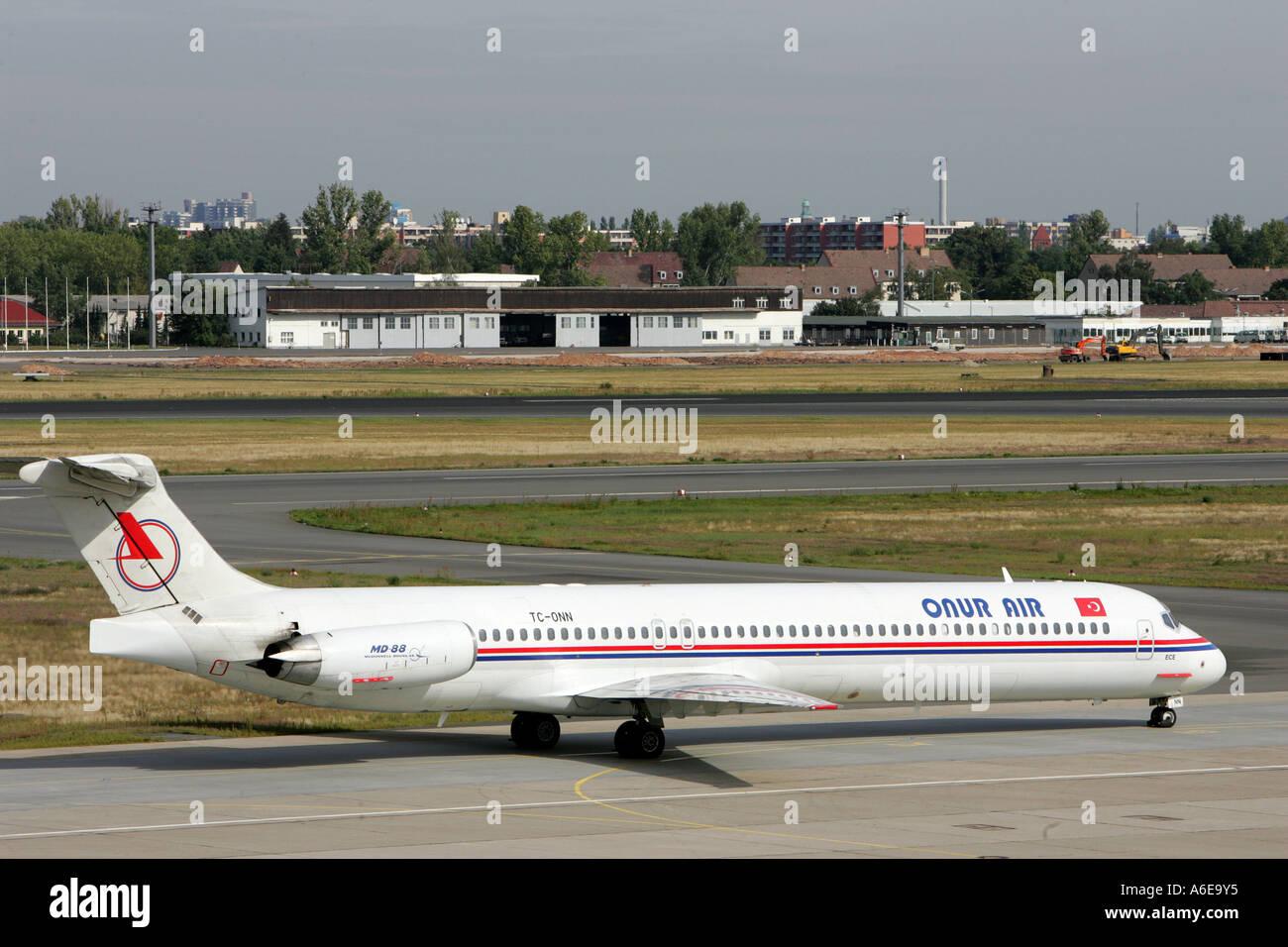 Onur Air airplane at Tegel airport, Berlin - Stock Image