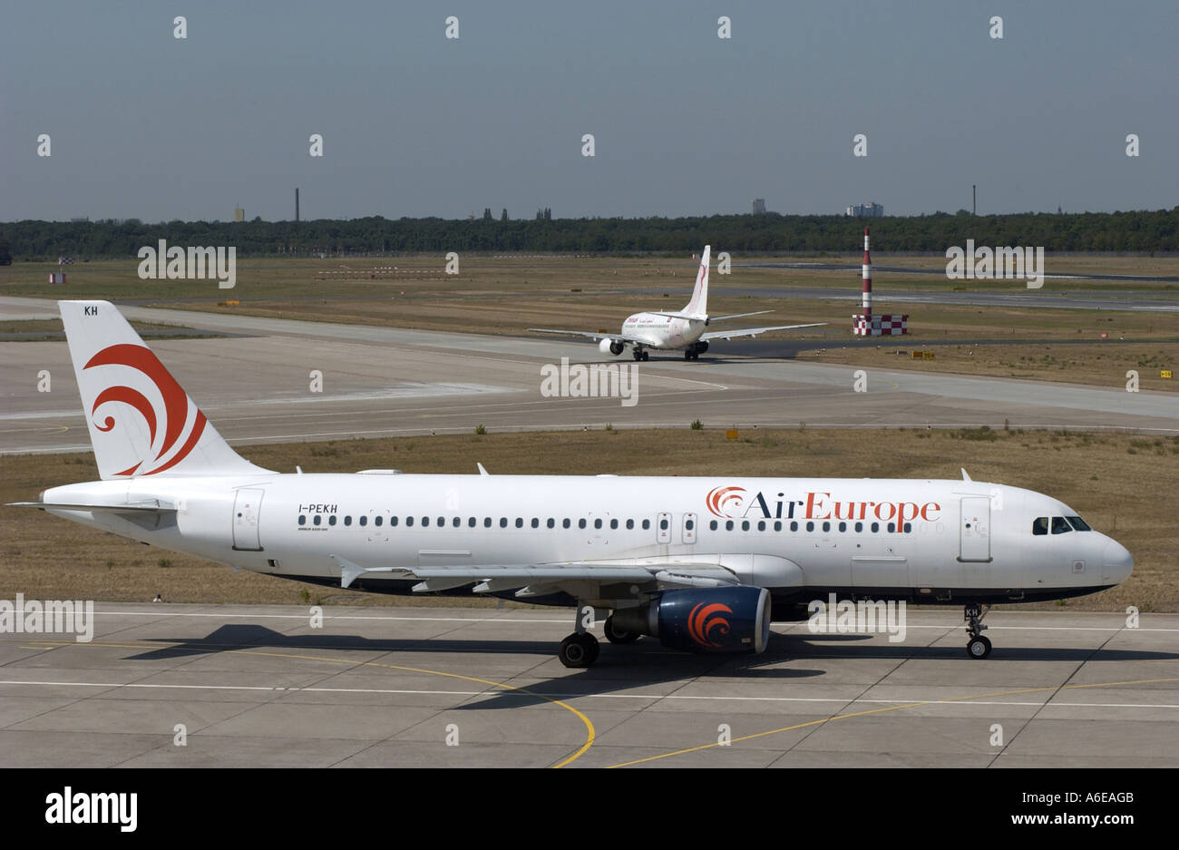 AirEurope airplane at Tegel airport, Berlin - Stock Image