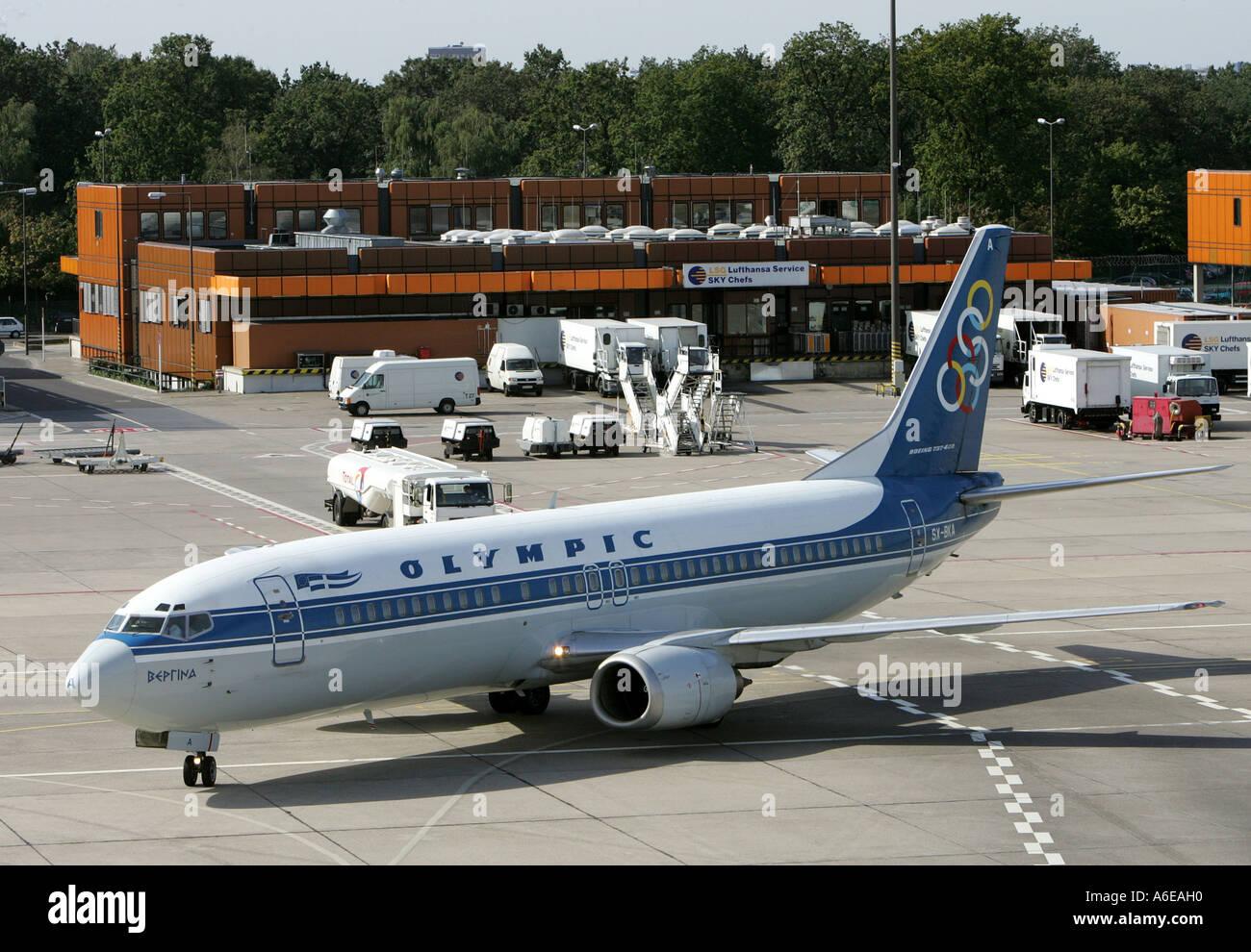 Greek Olympic Airways airplane at Tegel airport, Berlin - Stock Image