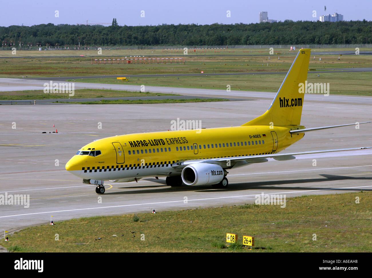 Hapag Lloyd Express airplane at Tegel airport, Berlin - Stock Image