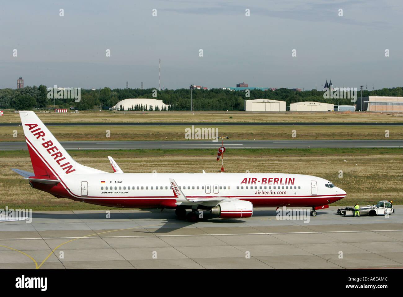 Air Berlin airplane at Tegel airport, Berlin - Stock Image