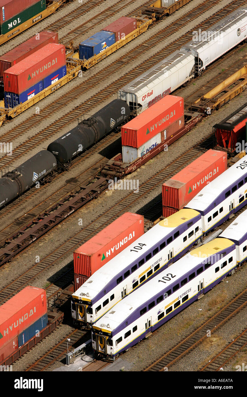 Freight waggons on tracks at railway goods station Vancouver, British Columbia, Canada - Stock Image