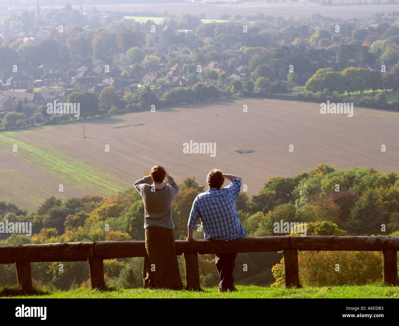 buckinghamshire chilterns princes risborough view from whiteleaf hill - Stock Image