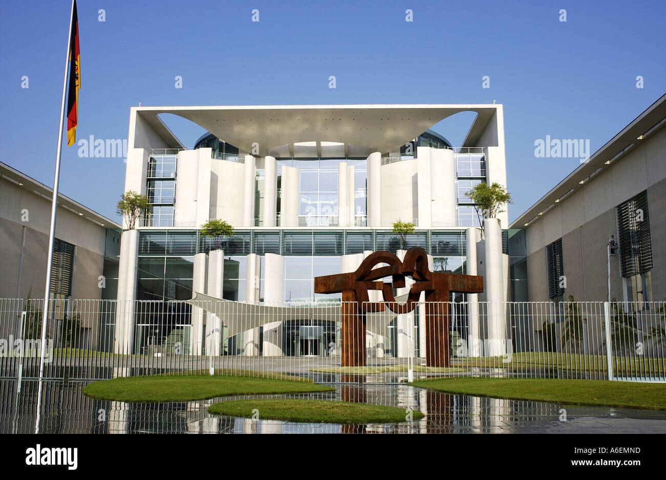 Federal Chancellery central tract with fence - Stock Image