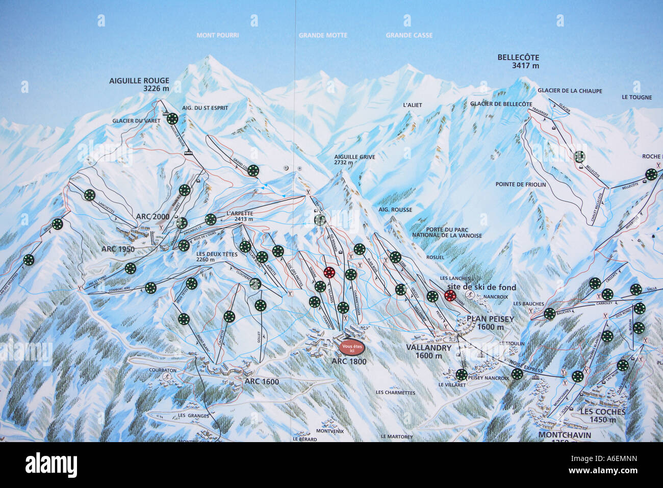 Map of the winter sports area Peisey Les Arcs La Plagne France Stock