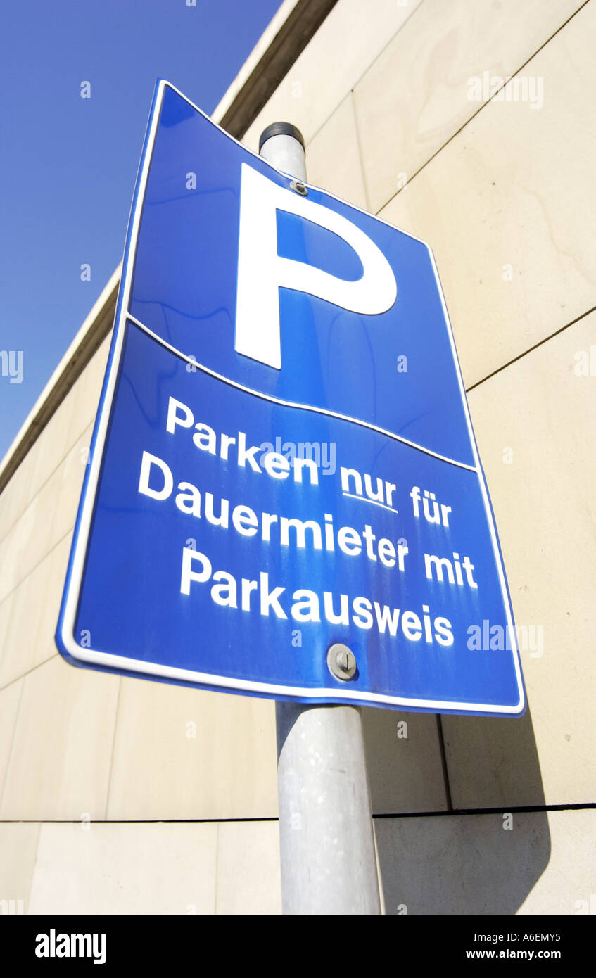 Park sign for permanent tenants with park document of identification - Stock Image