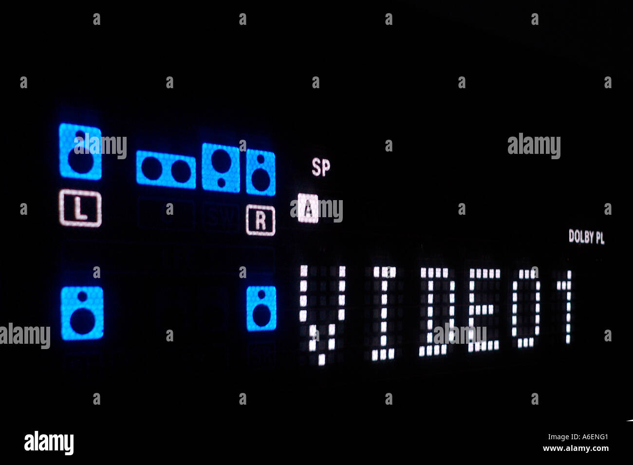 Display of a DVD Players with the Surround loudspeakers signs Stock Photo