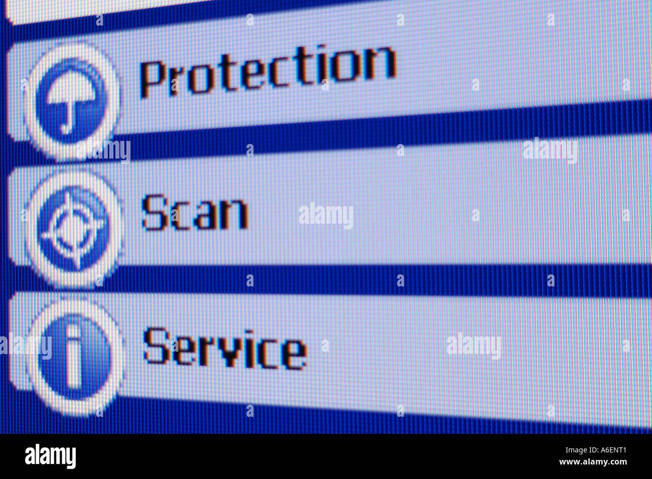Screenshot Protection Scan - Stock Image