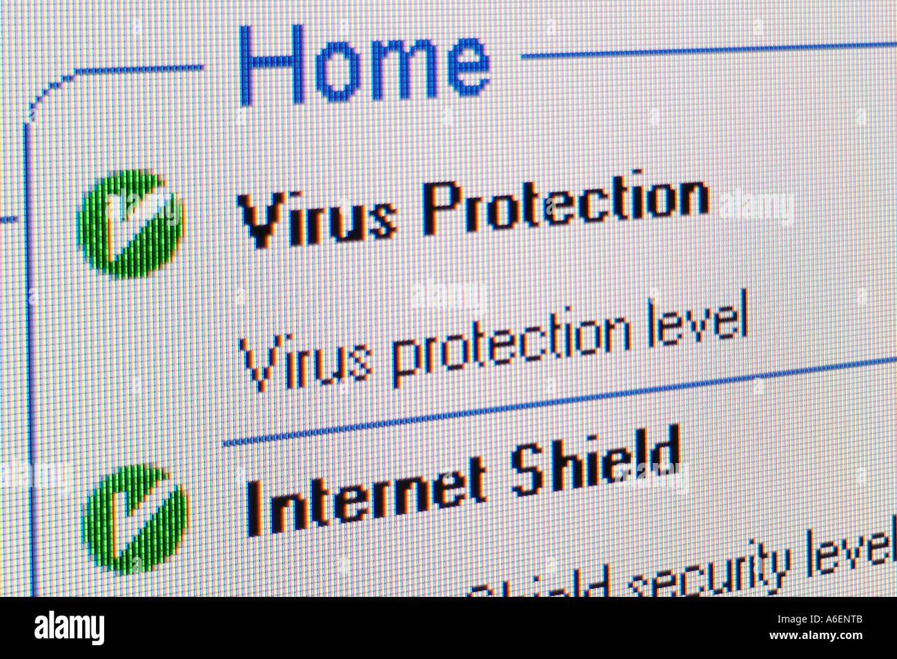 Screenshot Virus Protection - Stock Image