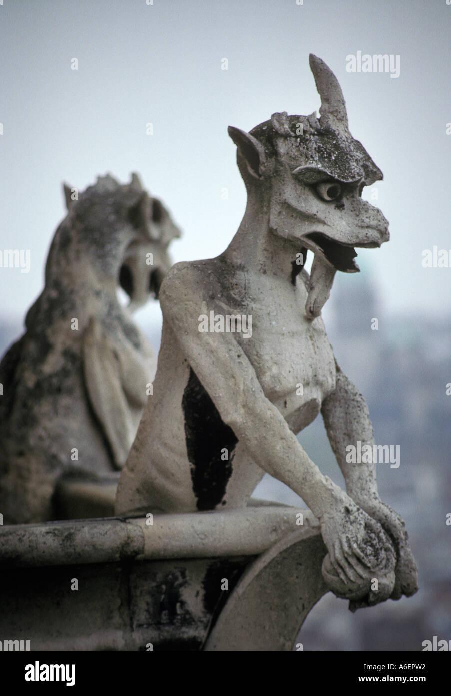 Gargoyles Notre Dame Cathedral, Paris France - Stock Image