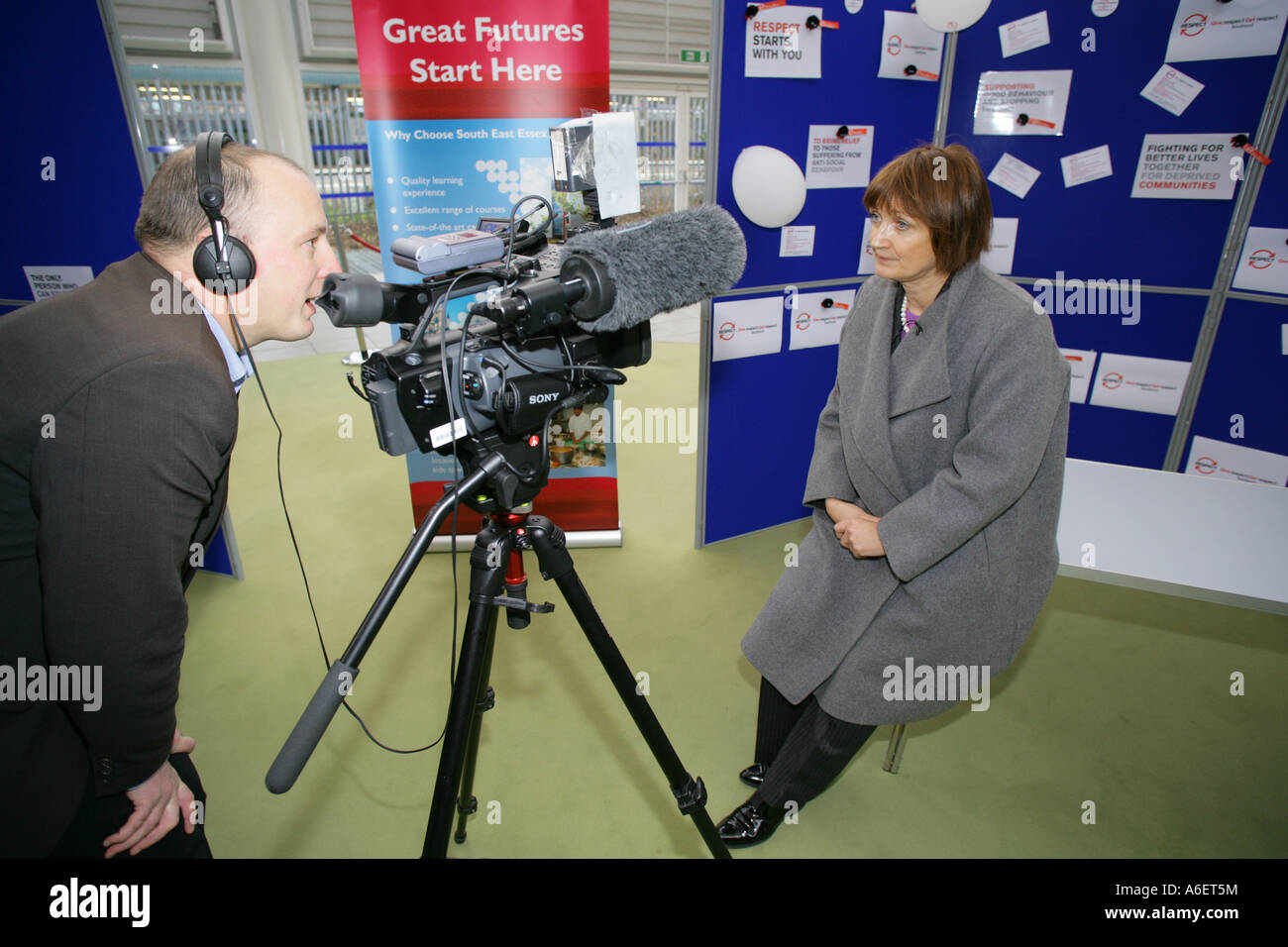 Secretary of state for Culture Media and Sport Tessa Jowell being interviewed by a TV crew during an official visit - Stock Image