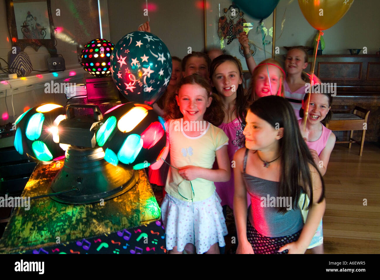 9 Year Old Girls At Disco Birthday Party