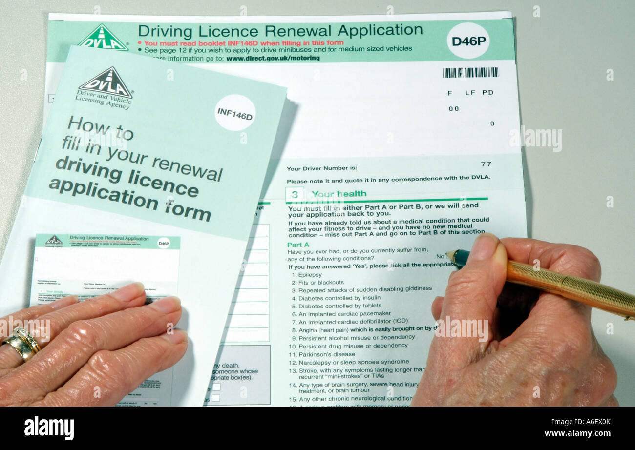 A DVLA British driving licence renewal application form D46P