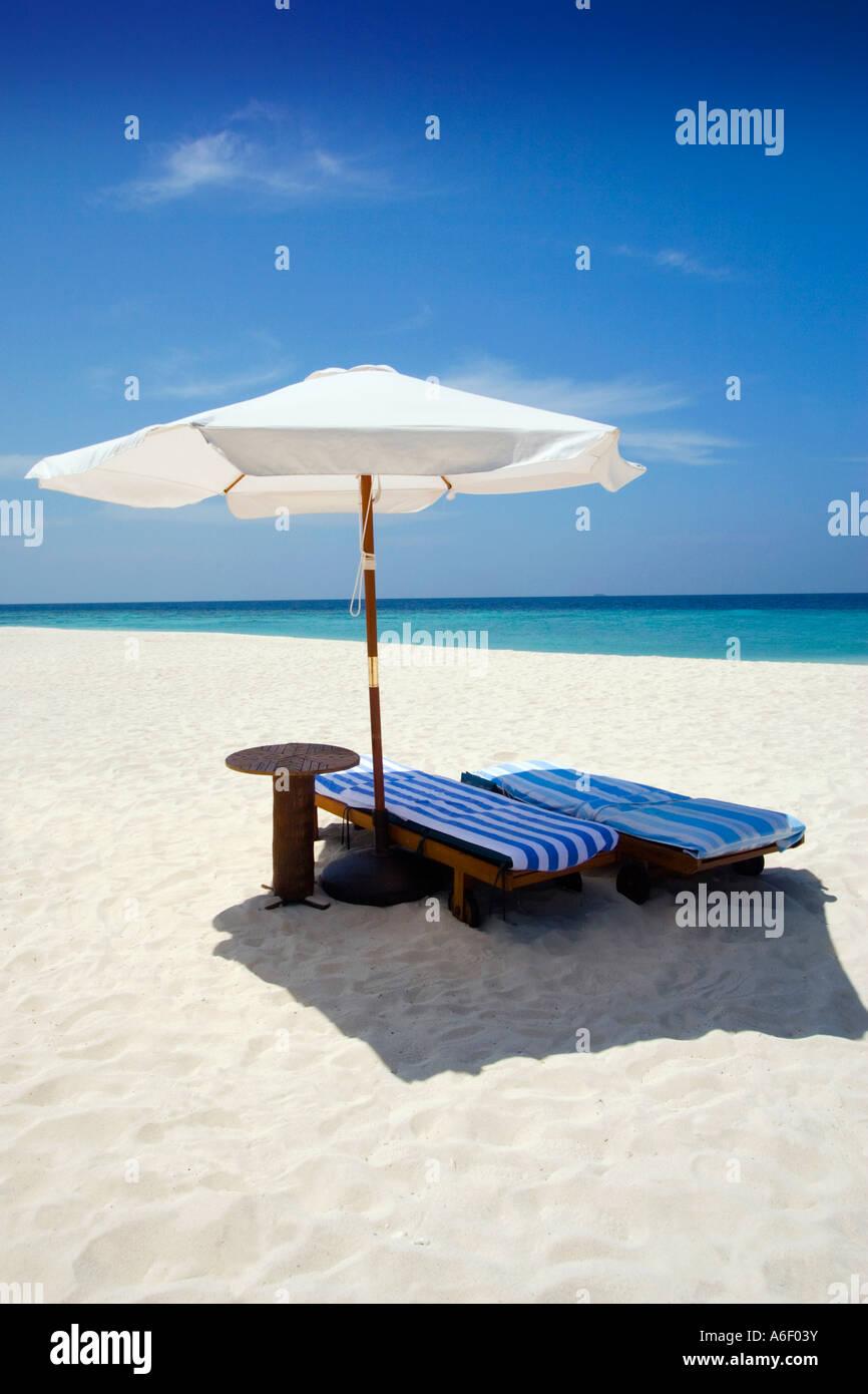 Sun loungers The Maldives - Stock Image