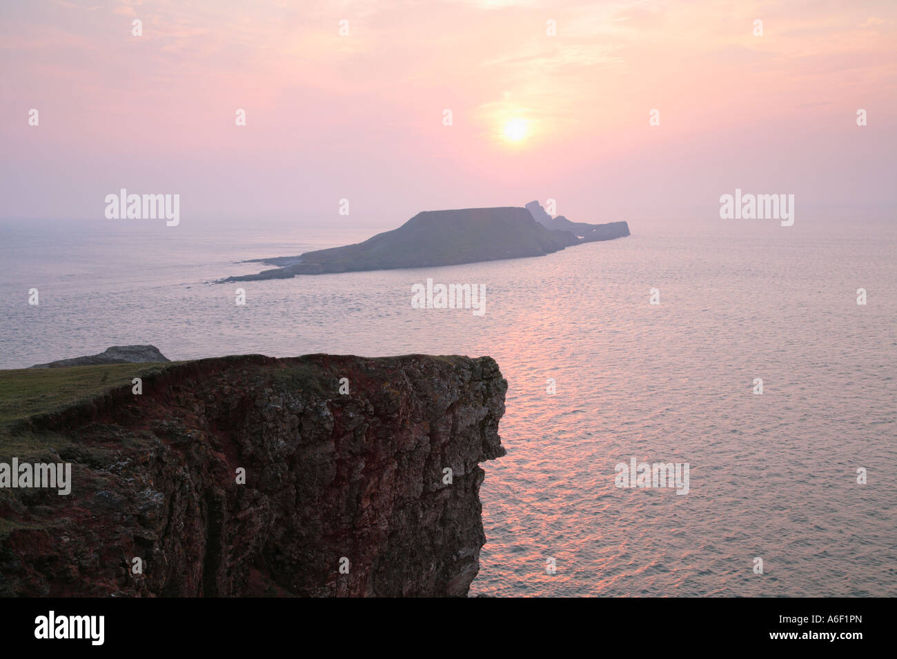 Kitchen Corner looking toward Worms Head Gower South Wales - Stock Image