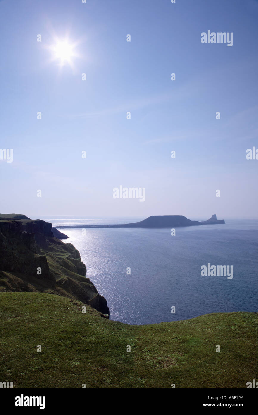 Worms Head Penrhyn gwyr at the southern end of Rhossili Bay at low tide Gower South Wales - Stock Image