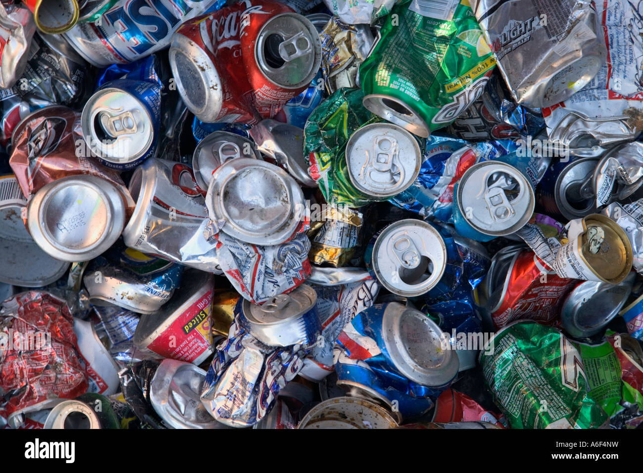 Crushed aluminum cans piled for recycling, - Stock Image