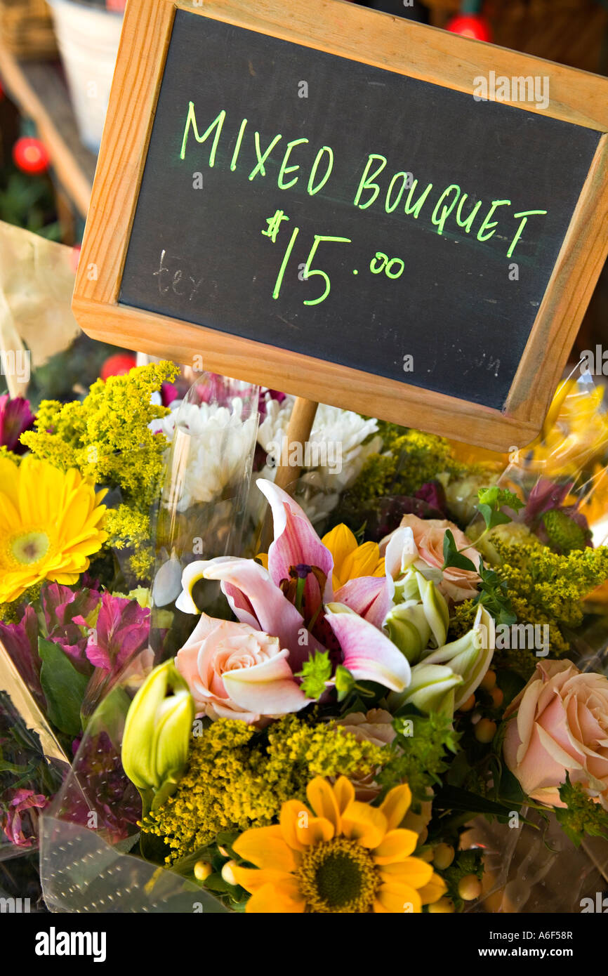 TEXAS Austin Flowers Displayed Outside Flower Store On South Congress Mixed  Bouquet And Price On Chalkboard Sign