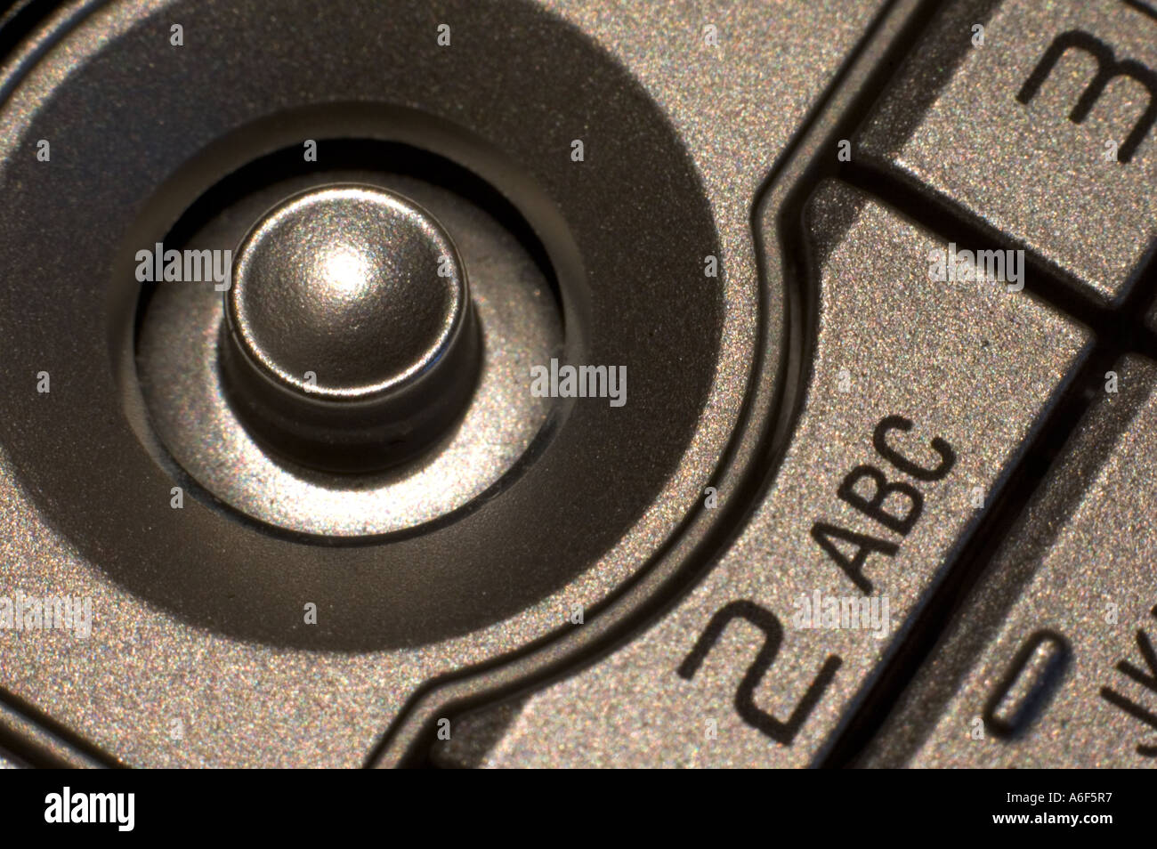 Toggle button on Nokia mobile phone. Stock Photo