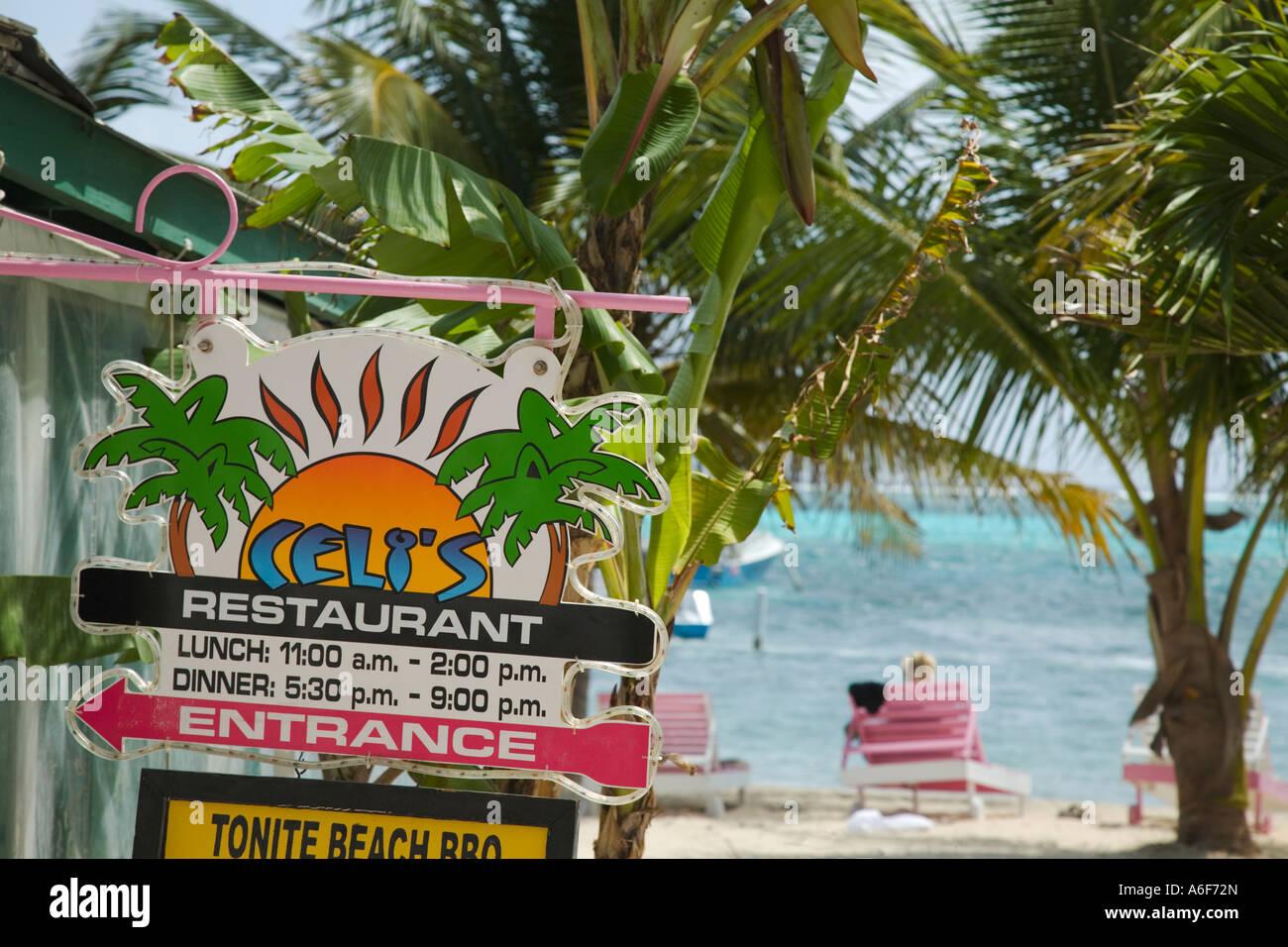 Belize San Pedro On Ambergris Caye Celis Restaurant Sign Lounge