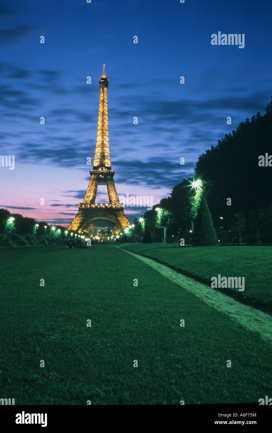 Evening view of the Eiffel Tower in Paris France - Stock Image