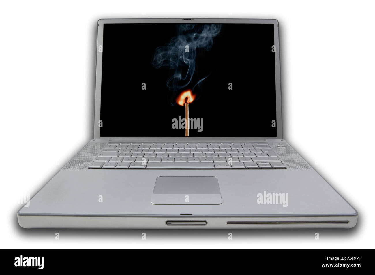 LAP TOP NOTE BOOK COMPUTER DISPLAYING IMAGE OF BURNING MATCH AND SMOKE ON SCREEN - Stock Image