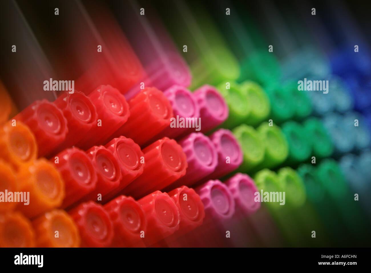 coloured felt tip pens farbige Filzstifte Stock Photo