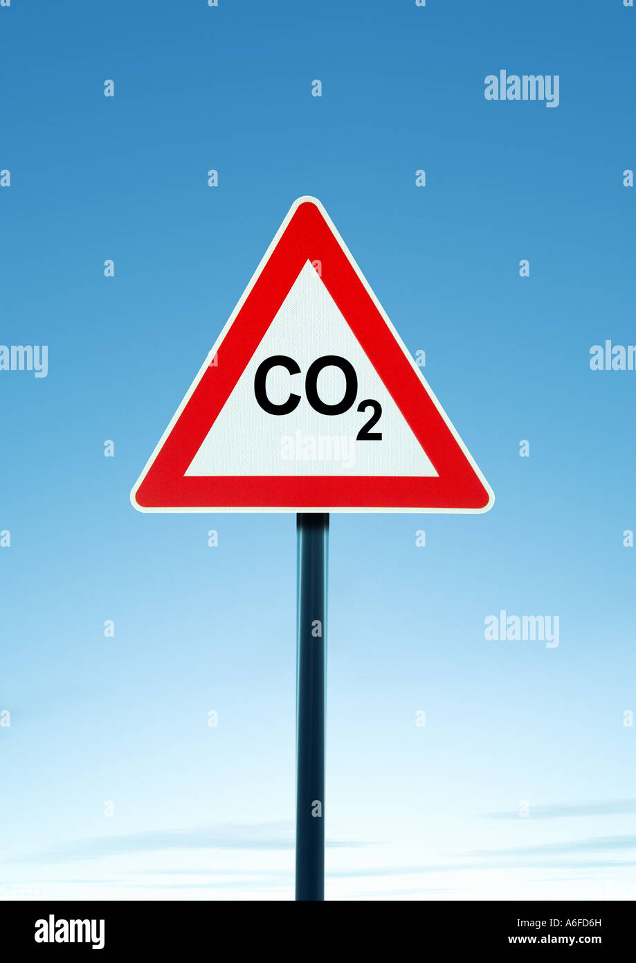 Warning CO2 Achtung CO2 - Stock Image