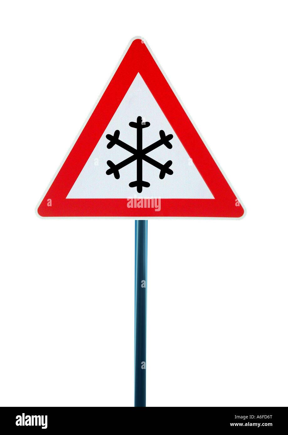 sign attention snow Schild Achtung Schnee - Stock Image