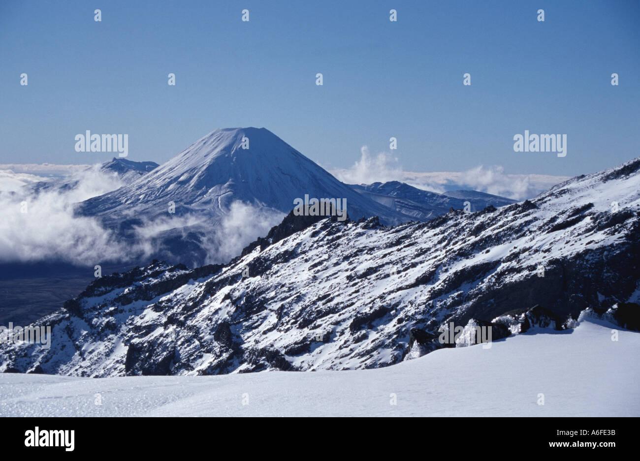 Winter view of Mount Ngauruhoe from Mt Ruapehu Tongariro National Park North Island New Zealand Stock Photo