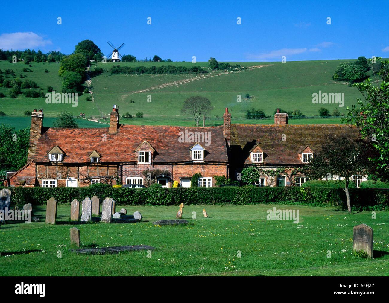 Turville Buckinghamshire England UK English village brick semi timbered cottages windmill travel tourism Chilterns rural charm - Stock Image
