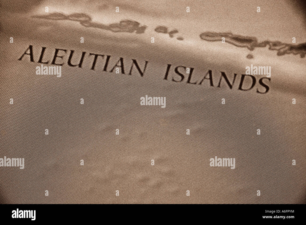 Map of the Aleutian Islands - Stock Image