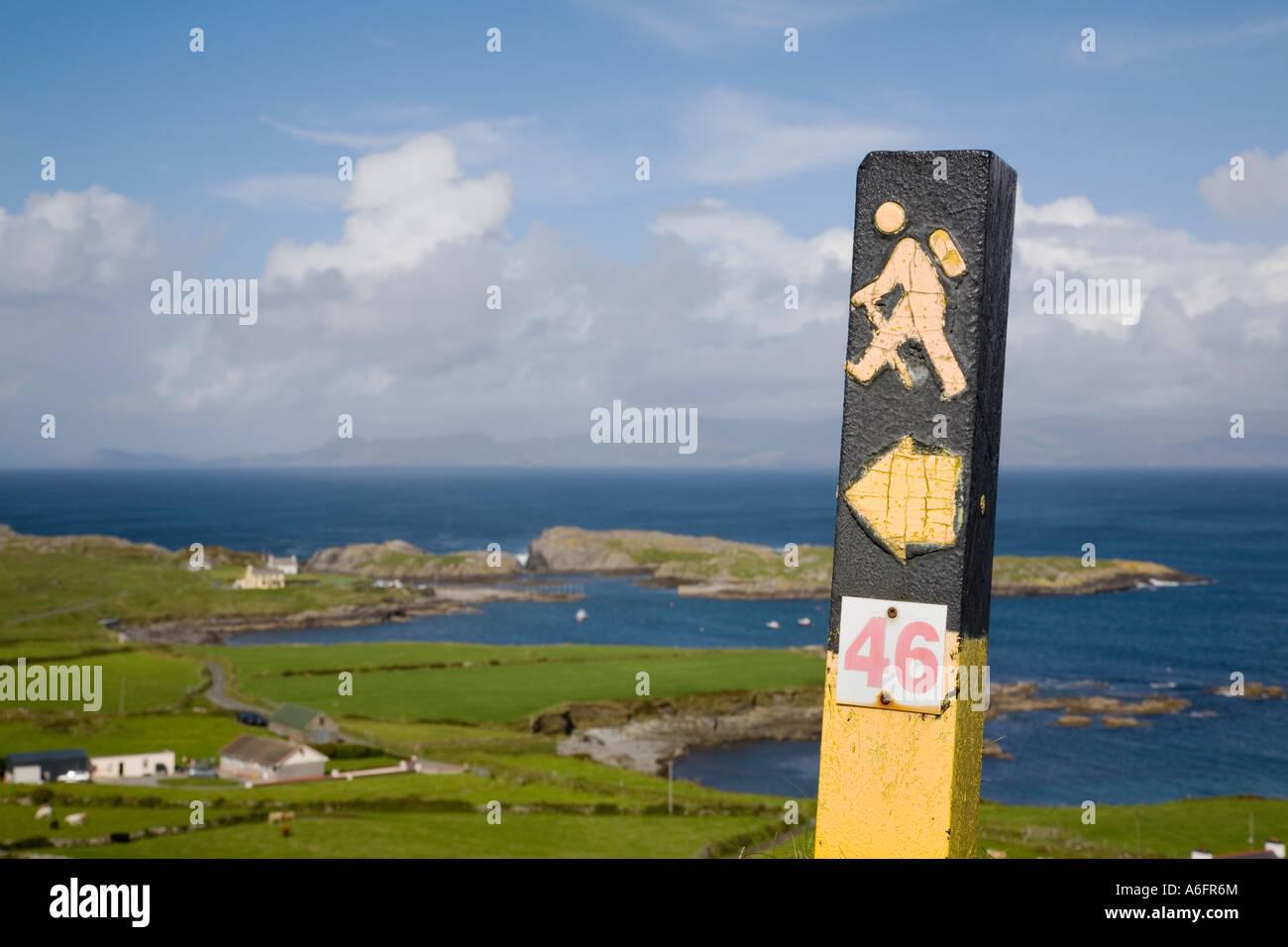 Beara Way long distance walk sign on 'Ring of Beara' route on Beara Peninsula Garnish Point County Cork - Stock Image